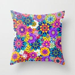 Retro Garden Throw Pillow
