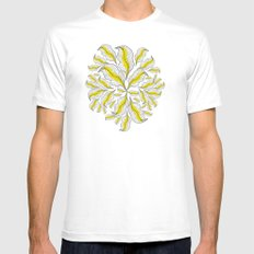 yellow---line MEDIUM White Mens Fitted Tee