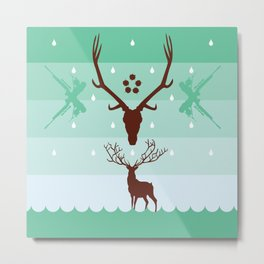 THE STAG & THE REFLECTION Metal Print