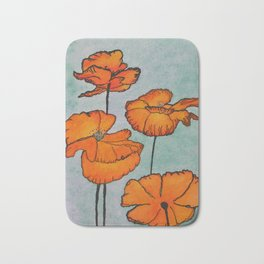 Orange Poppies Bath Mat