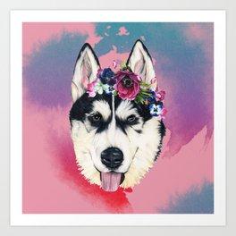 Flower Power  puppy Art Print