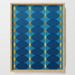 Circular Geometric Vintage Motif Arabic Pattern, Gold Texture, Azure, Aqua, Indigo and Cobalt Colors Serving Tray