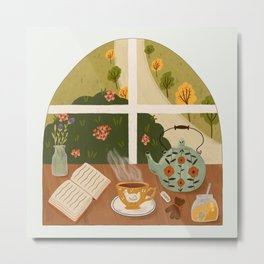 Tea Time by the Window Metal Print