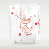 goldfish Shower Curtains featuring goldfish by 1 monde à part