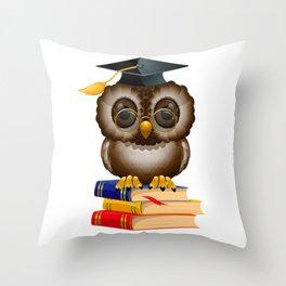 Graduation Book Owl College High School Library Throw Pillow