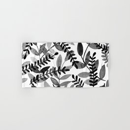 Watercolor branches - black and white Hand & Bath Towel