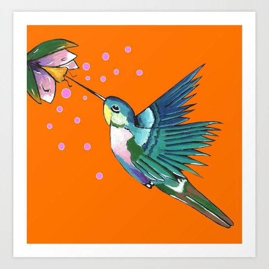 Hummingbird Orange Art Print