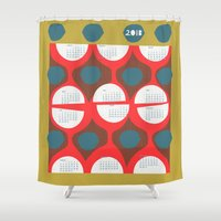 50s Shower Curtains featuring 2013 retro calendar by ottomanbrim