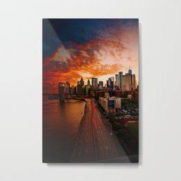 Sunset over New York City (Color) Metal Print