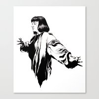 mia wallace Canvas Prints featuring Mia Wallace by El Kane