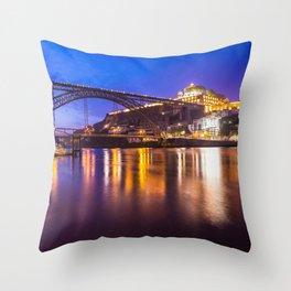 Porto at night Portugal Throw Pillow