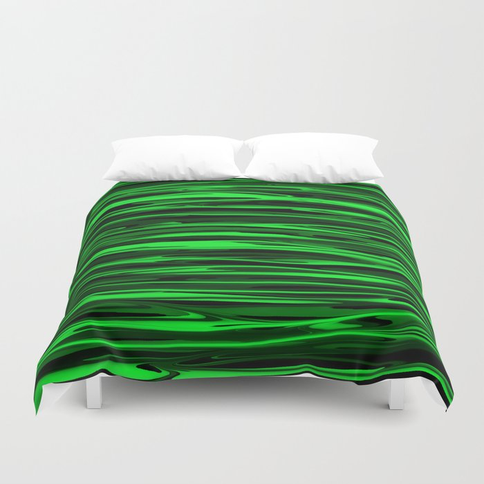 Lime Green and Black Stripes Bettbezug