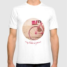 Lady in Pink White MEDIUM Mens Fitted Tee