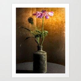 Flower in vase - oil painting by Brian Vegas Art Print