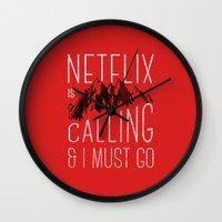 netflix Wall Clocks featuring Netflix is calling by Zeke Tucker