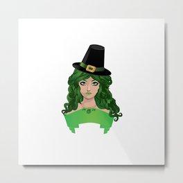 Leprechaun lady in black hat Metal Print