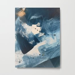 Against the Current: A bold, minimal abstract acrylic piece in blue, white and gold Metal Print