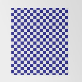 Small Checkered - White and Dark Blue Throw Blanket
