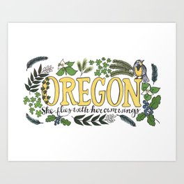 Oregon State Motto Bird Flower Nature Hand Drawn Art Art Print