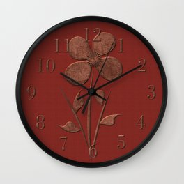 Burgundy Red Floral Pattern Wall Clock