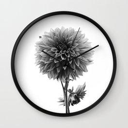 Dahlia - Monochrome Wall Clock