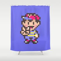 earthbound Shower Curtains featuring Ness (Peace) - Earthbound / Mother 2 by Studio Momo╰༼ ಠ益ಠ ༽
