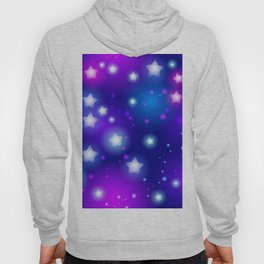 Milky Way Abstract pattern with neon stars on blue background Hoody