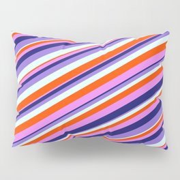 Colorful Red, Violet, Midnight Blue, Purple, and Light Cyan Colored Lined Pattern Pillow Sham