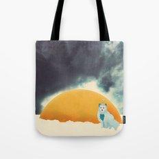 Arctic Fox Stumbles Upon A Meteorite Tote Bag