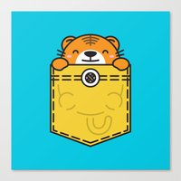 pocket Canvas Prints featuring Pocket Tiger by Steven Toang