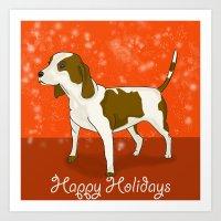 Happy Puppy Holidays! Art Print