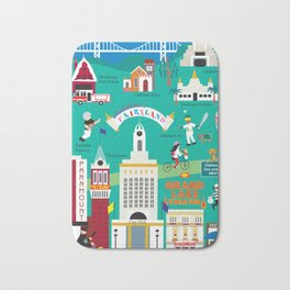 Oakland, California - Collage Illustration by Loose Petals Bath Mat
