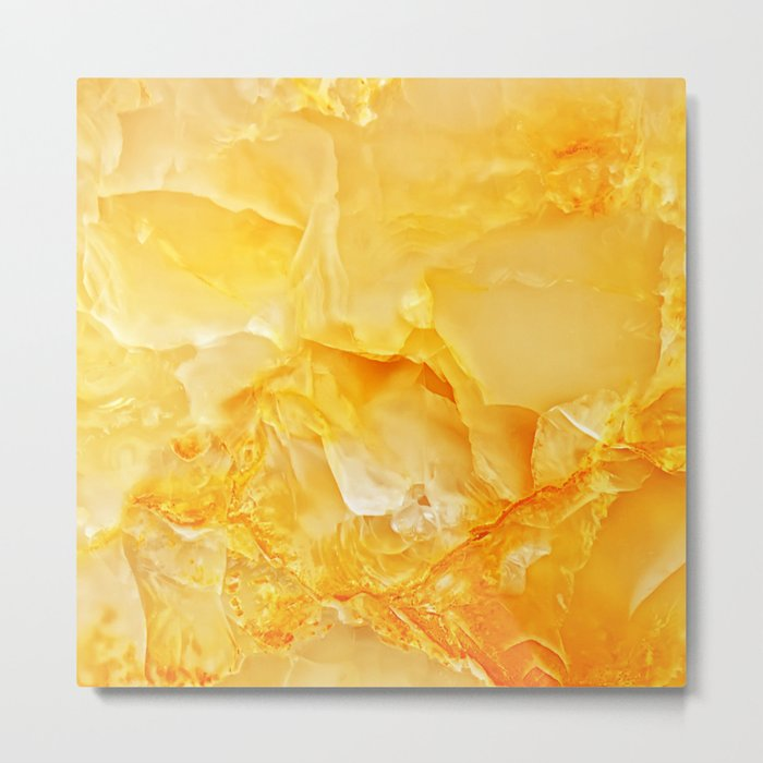 Yellow onyx marble Metal Print