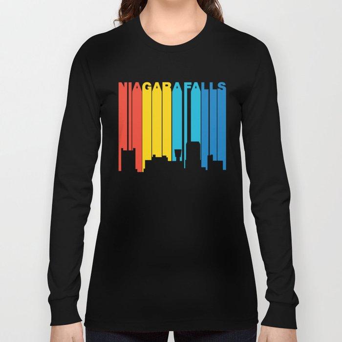 Retro 1970's Style Niagara Falls New York Skyline Long Sleeve T-shirt