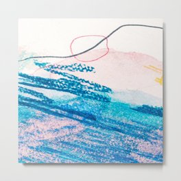Abstract hand painted pink blue watercolor brushstrokes Metal Print