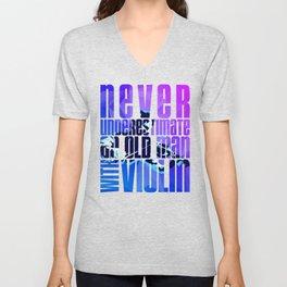 Violin Old Man Violinist Gift Idea Fiddle Fiddler Unisex V-Neck