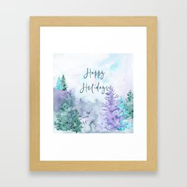 Watercolor Happy Holidays Winter Wonderland Framed Art Print