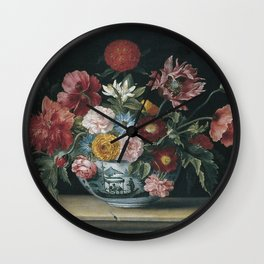 Jacques Linard - Chinese Bowl With Flowers Wall Clock