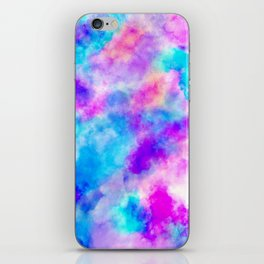 Modern hand painted neon pink teal abstract watercolor iPhone Skin