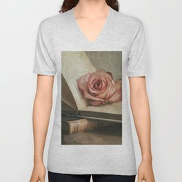 Still life with pink rose and old books Unisex V-Neck