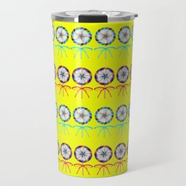Lovely cute lollipop candy yellow pattern. Rows of beautiful retro vintage lollipops Travel Mug