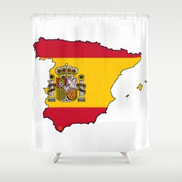 Spain Map with Spanish Flag Shower Curtain