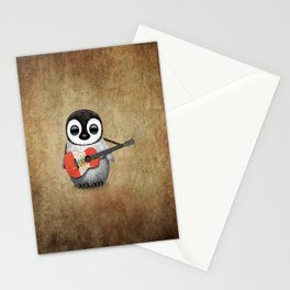 Baby Penguin Playing Peruvian Flag Acoustic Guitar Stationery Cards