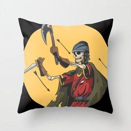 Skeleton Knight Visigoth Helmet Throw Pillow
