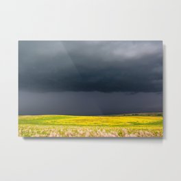 Simply Spring - Thunderstorm Over Yellow Fields in Oklahoma Metal Print
