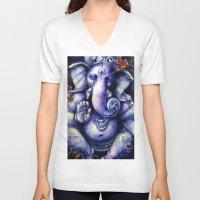 ganesh V-neck T-shirts featuring Ganesh by meghantaylor