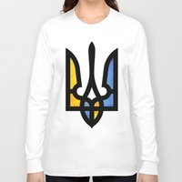 ukraine Long Sleeve T-shirts featuring Emblem of Ukraine by Broncos