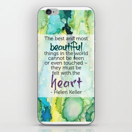 Inspirational Quote - Helen Keller - Alcohol Ink iPhone Skin