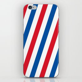 Blue, white and red stripes pattern iPhone Skin