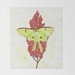 Luna Moth On Sumac Throw Blanket